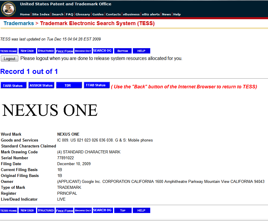 Google Patents Nexus One