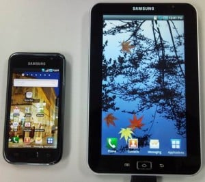 Rumored Tablet next to a Galaxy S Phone