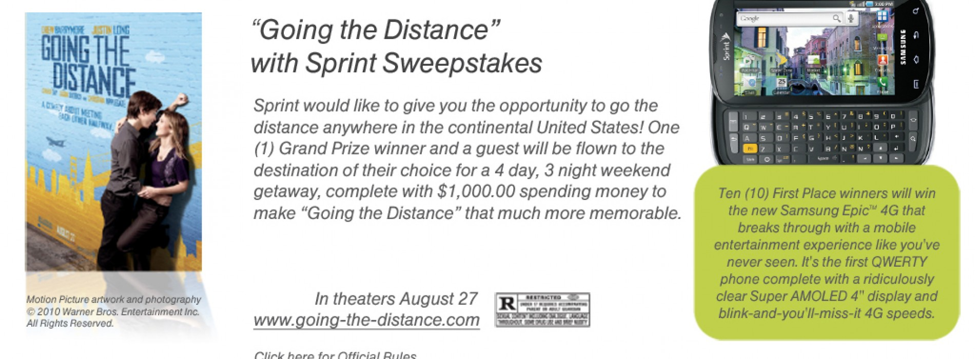 "Sprint is ""Going the Distance"" Giving away 10 Epic 4G handsets"