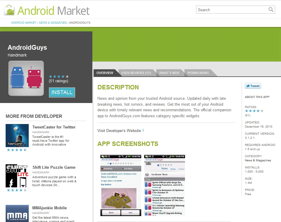 Android Market Tweet