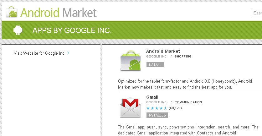 Android Market, Available in the Android Market