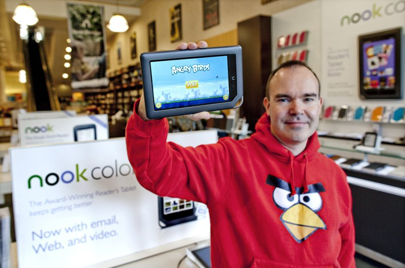 Angry Birds on the NOOK Color at Barnes & Noble, Union Square