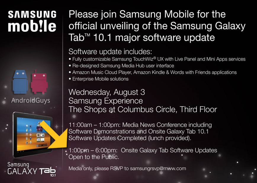 Samsung Hosting Galaxy Tab 10 1 Event on August 3 for Major Software