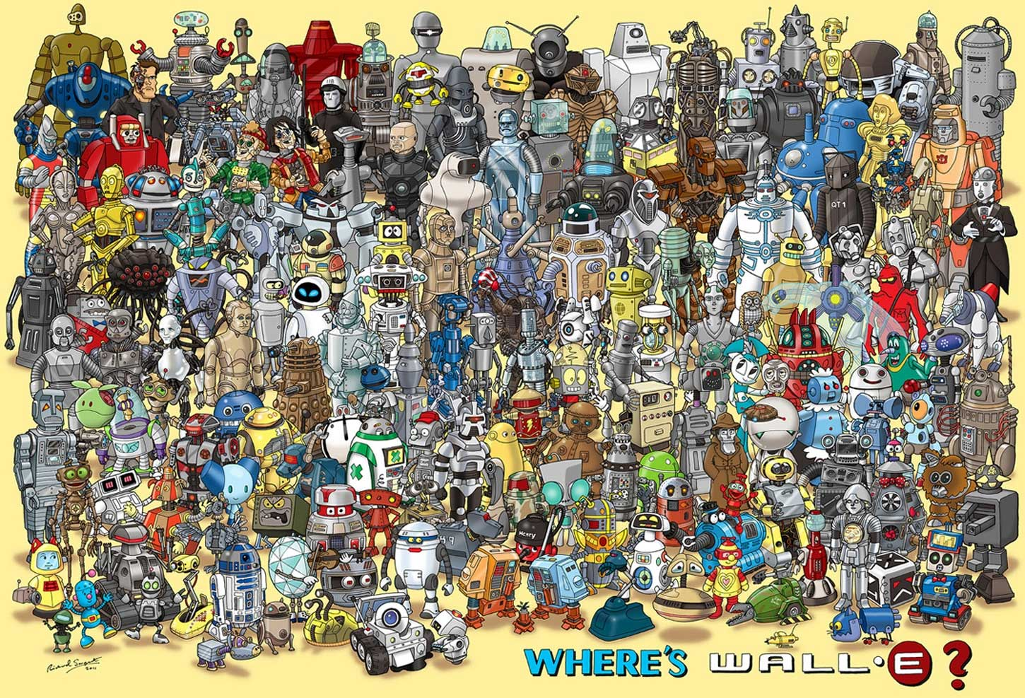 Beloved Android Hidden Among 180 Famous Robots in Illustration