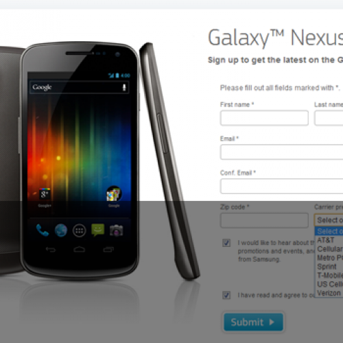 Galaxy Nexus signup page goes live with seven U.S. carriers listed