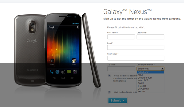 Galaxy Nexus Signup Feature