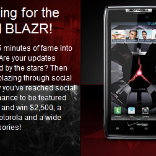 Calling all social media moguls: Motorola is giving away a Motorola DROID RAZR prize pack to the top Social BLAZR