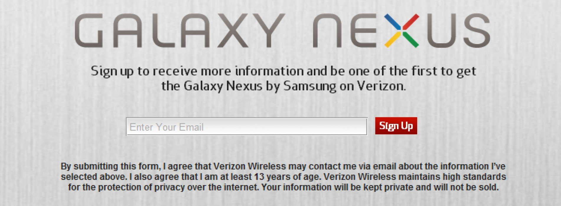 Verizon's Galaxy Nexus sign-up page goes live