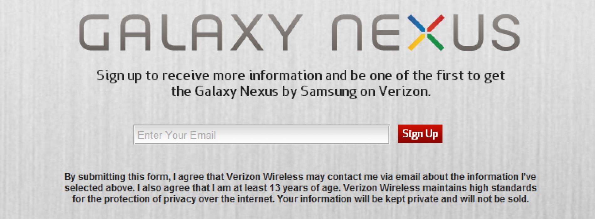 Verizon's Galaxy Nexus sign-up page goes live