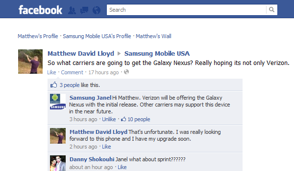 Vzw Galaxy Nexus Facebook