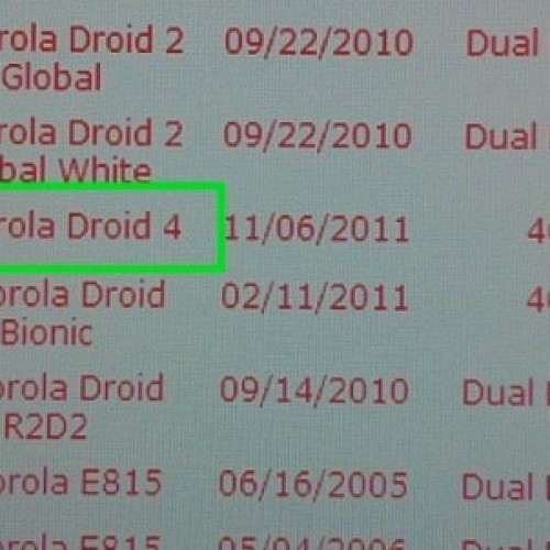 Droid 4 may be closer to release than expected, thanks to a leaked pic from Verizon's systems