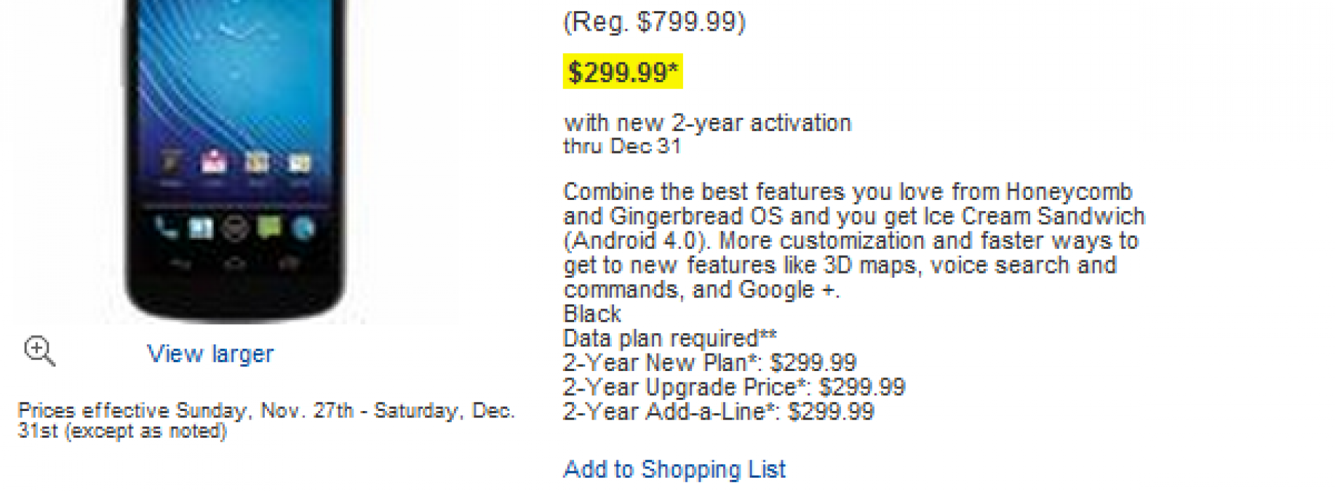 Verizon's Nexus Prime found on Best Buy Shop Local website