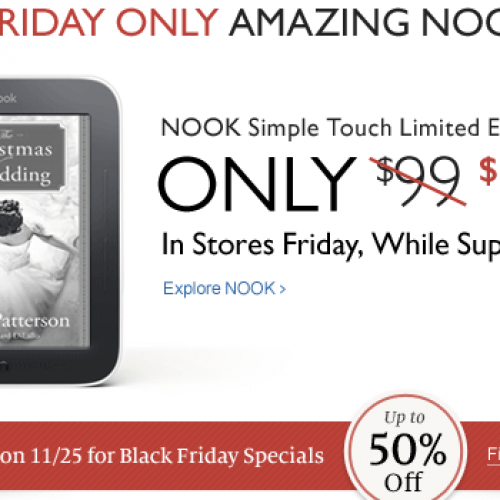 Barnes & Noble offering Nook Simple Touch for $79.99 on Black Friday