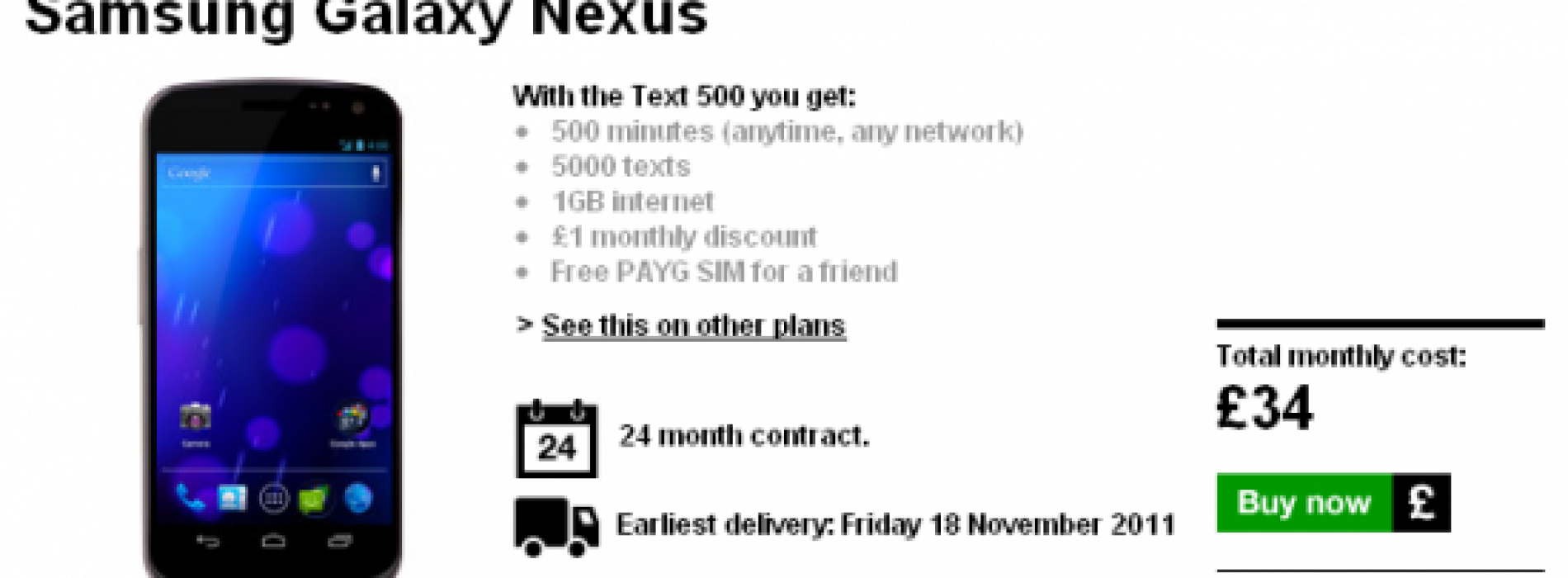 Galaxy Nexus up for pre-order at Three UK, price and release date revealed