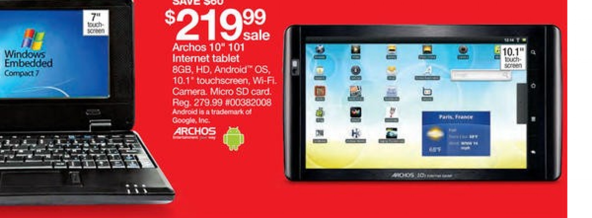 Sears Black Friday ad features $219.99 Archos 101 tablet