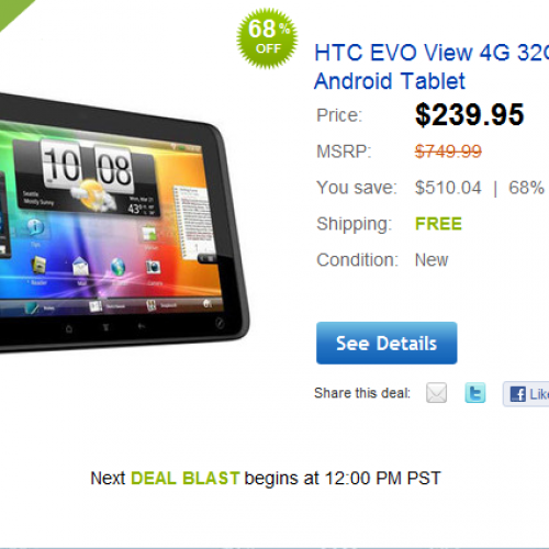 Deal: HTC Evo view for $240 from eBay Daily Deals