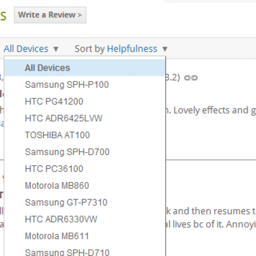 New filtering options show up in Android Market
