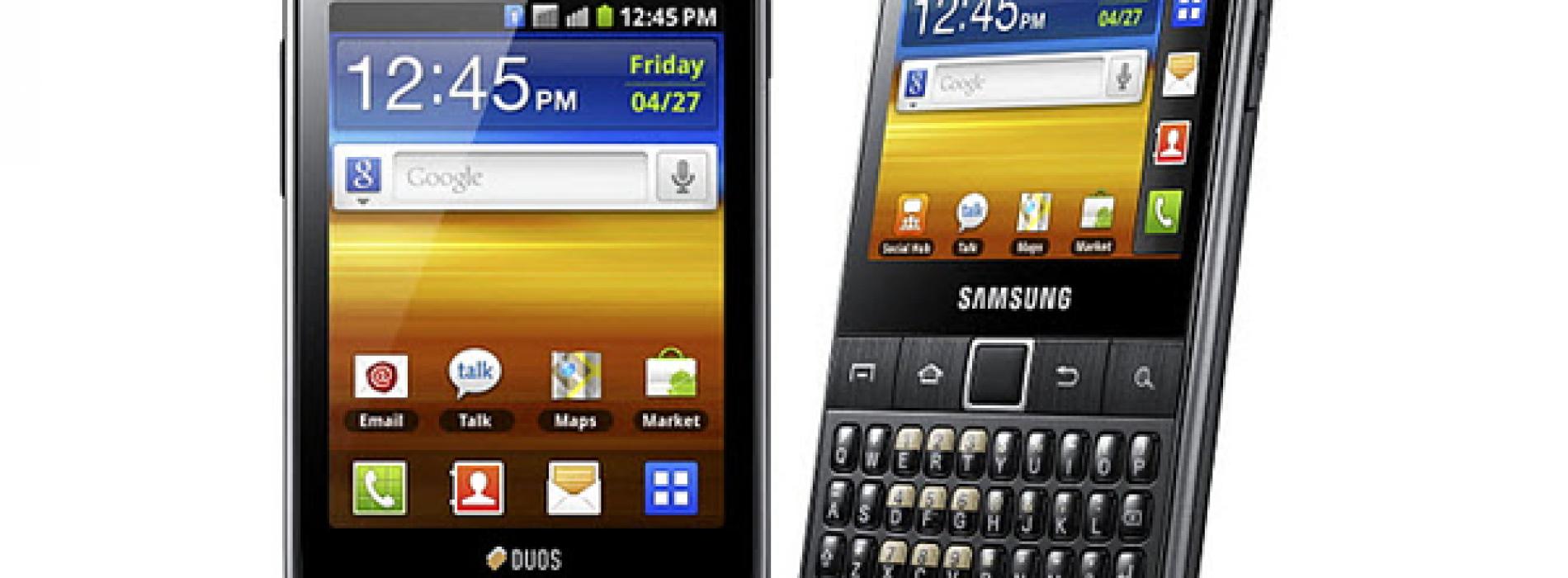 Samsung intros dual-SIM Samsung Galaxy Y Duos, Galaxy Y Pro Duos