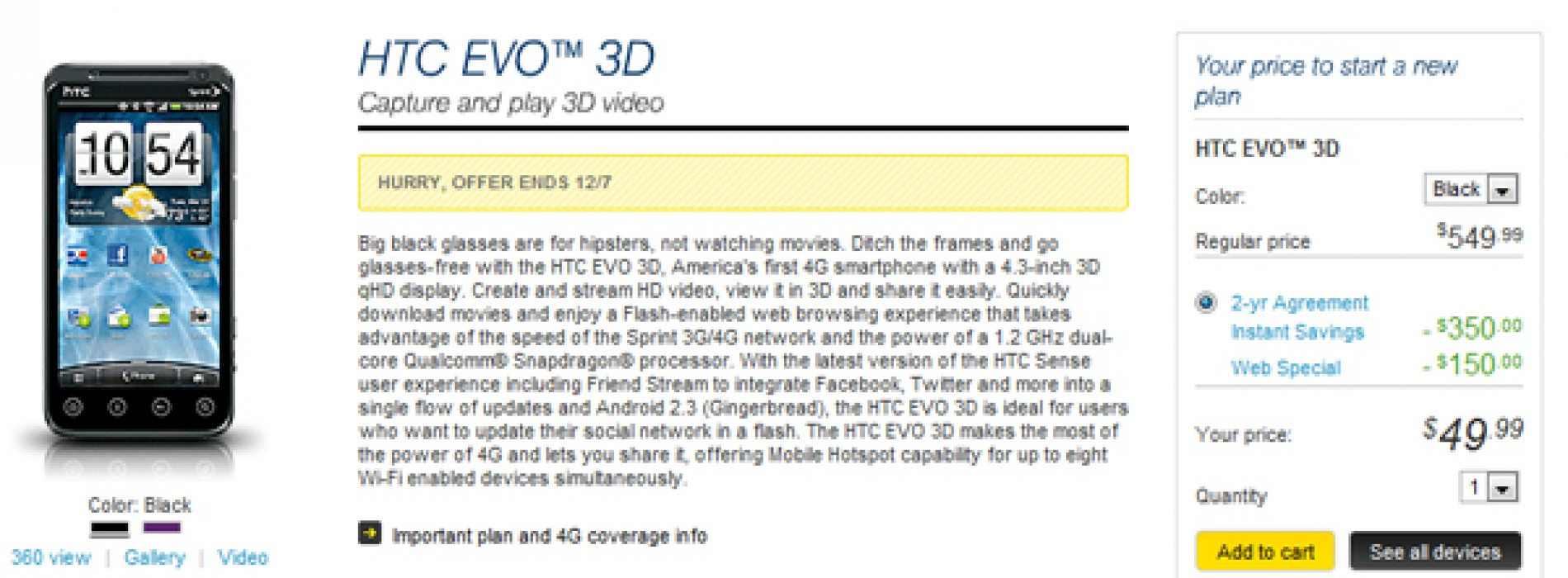 Sprint offering HTC EVO 3D for $49.99 today only [Deal Alert]