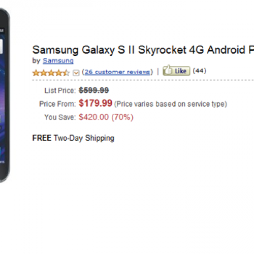 Various versions of Galaxy S II on sale at Amazon