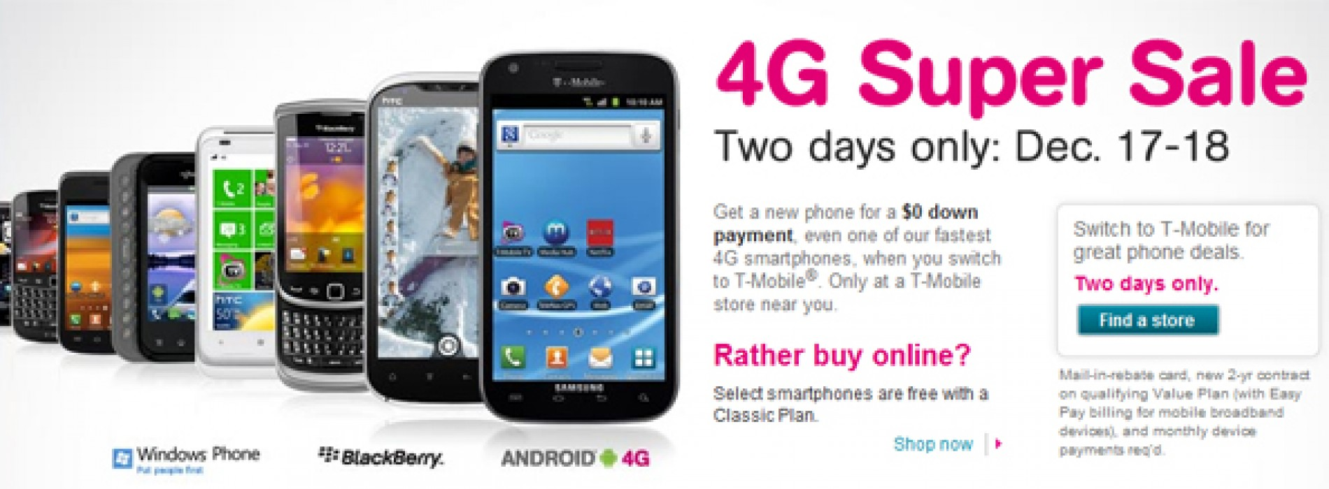 "T-Mobile kicking off ""4G Super Sale"" December 17, offering down payment rebates on all phones"