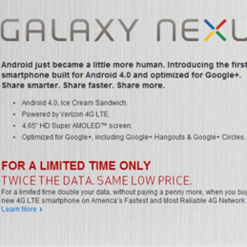 Verizon Galaxy Nexus available now, grab one before they change their minds