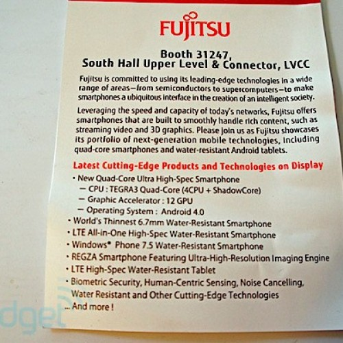 [Leak] Fujitsu has Tegra 3 quad-core smartphone, ICS in tow