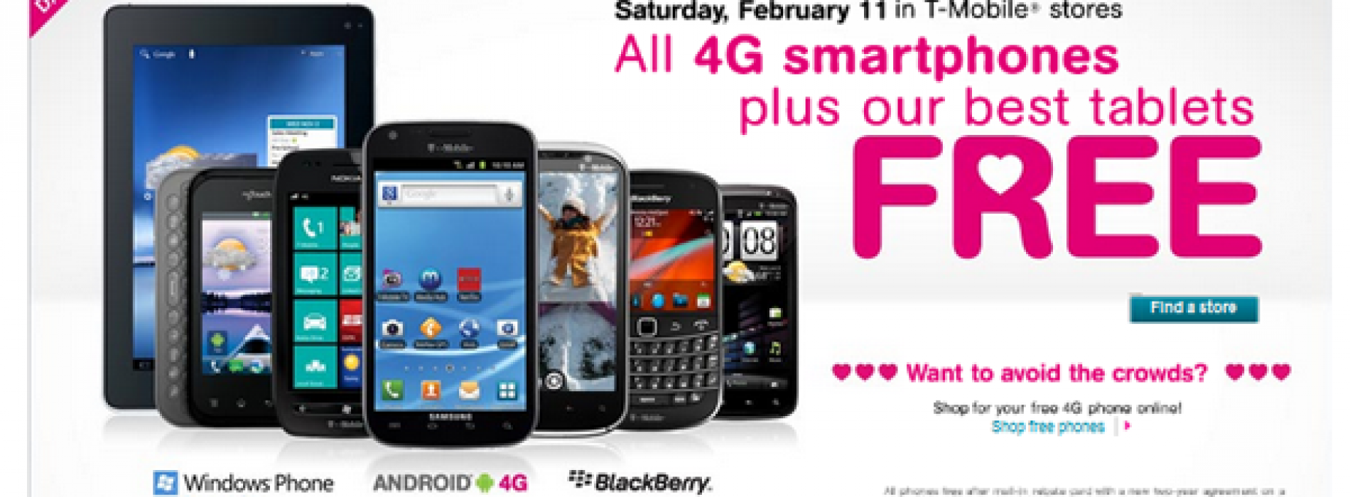 T-Mobile setting 4G phones, tablets free for Valentine's Day