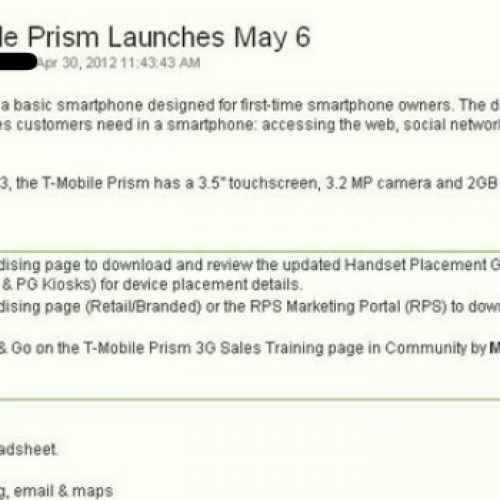T-Mobile readying entry-level Prism 3G for early May
