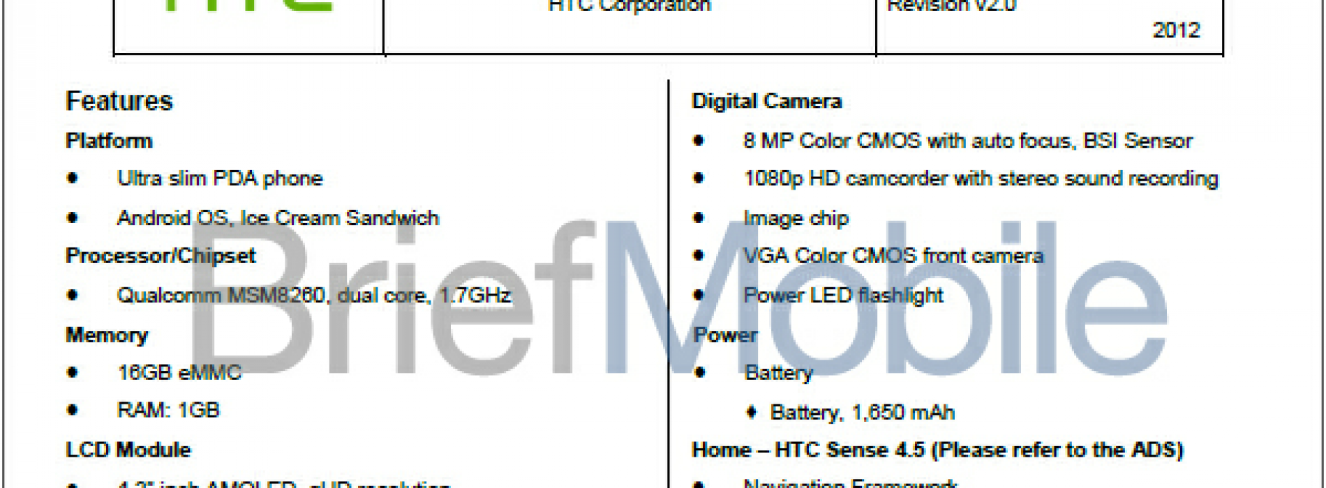 HTC Ville C leaks which suggests slightly modified HTC One S