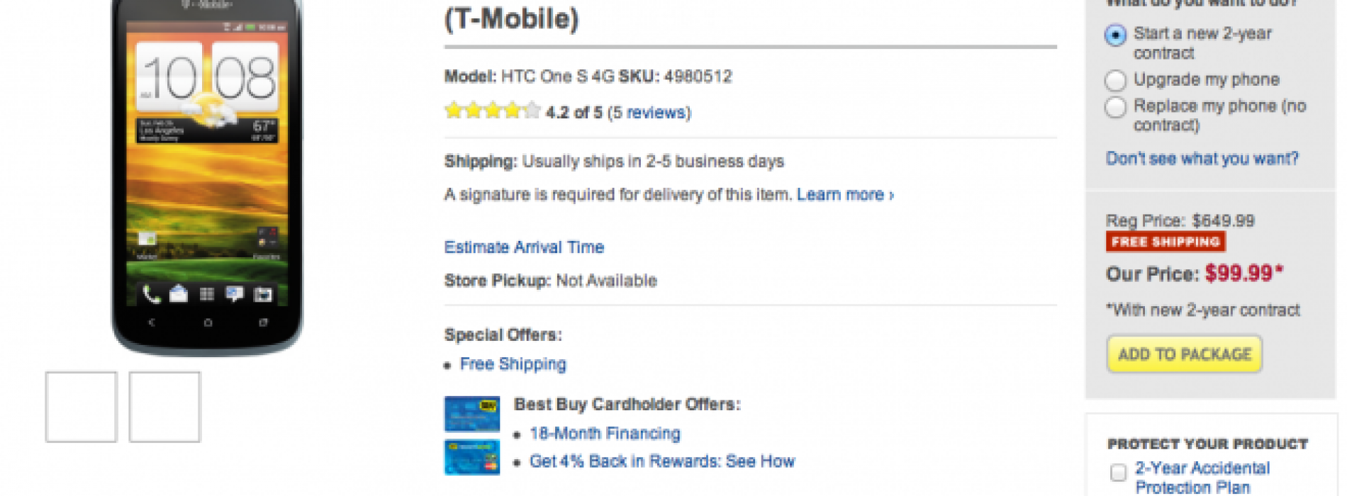 Best Buy selling the T-Mobile HTC One S for $99 on a new account or upgrade