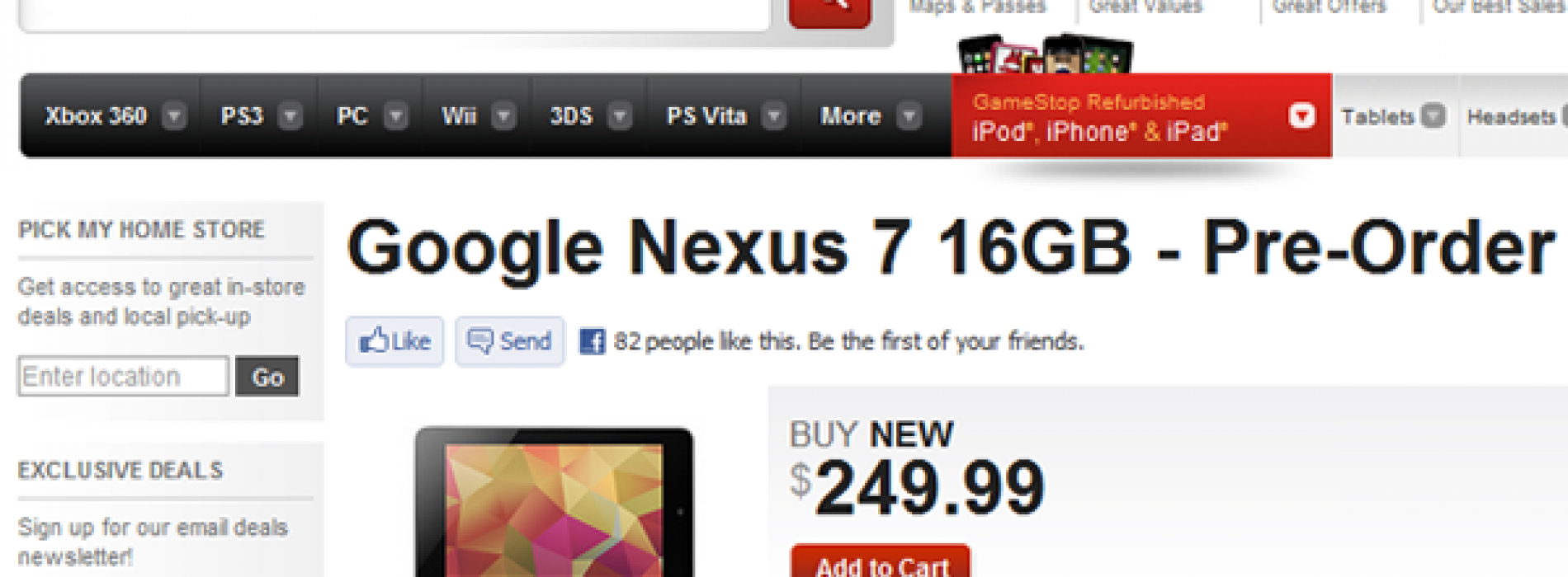 GameStop to carry the Nexus 7, now taking preorders
