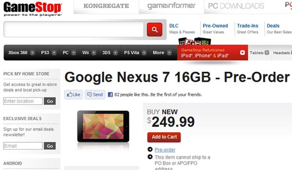 GameStop Nexus 7