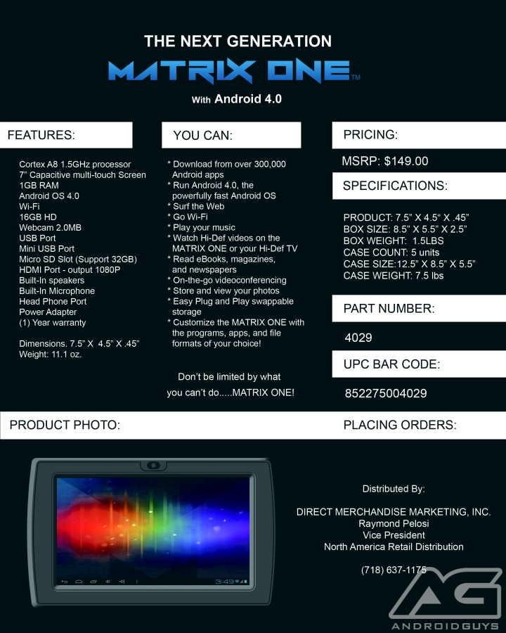 Matrix Spec Sheet