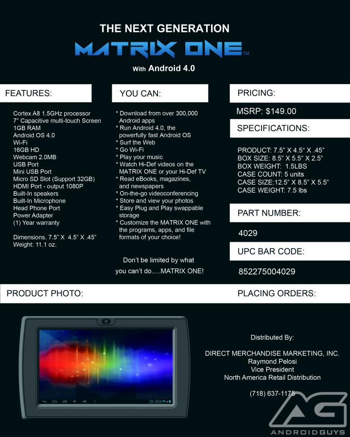 Matrix Spec Sheet