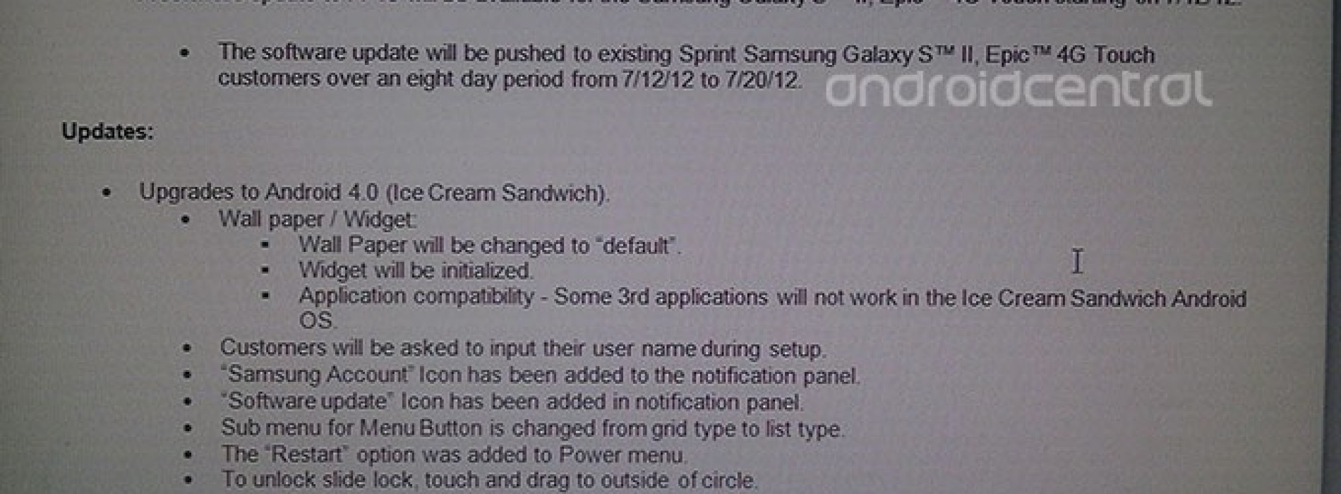 Samsung Galaxy S II Epic 4G Touch on Sprint slated for ICS this week