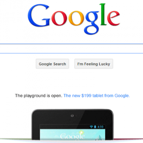 Google advertising Nexus 7 on home page