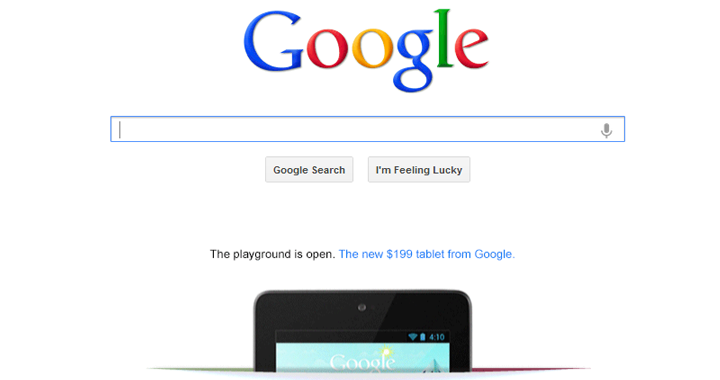 Google Nexus 7 Homepage