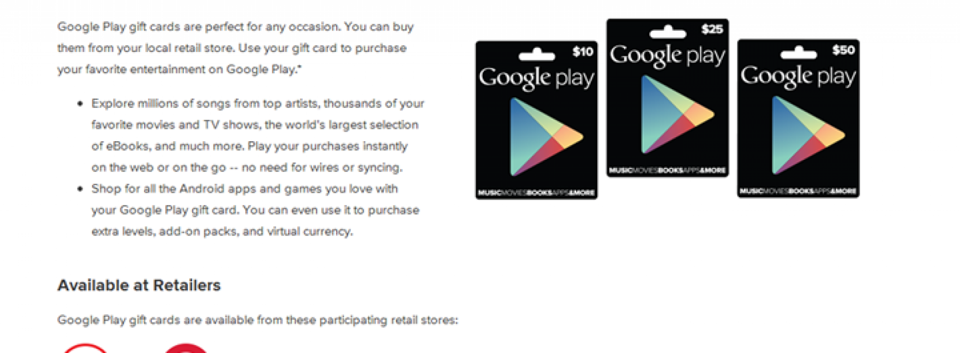 Target, GameStop, RadioShack officially getting Google Play gift cards