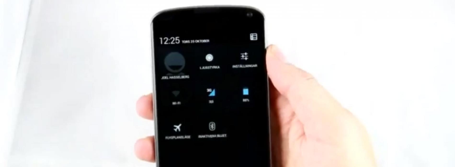 Short video of Nexus 4 shows quick settings, multi-user
