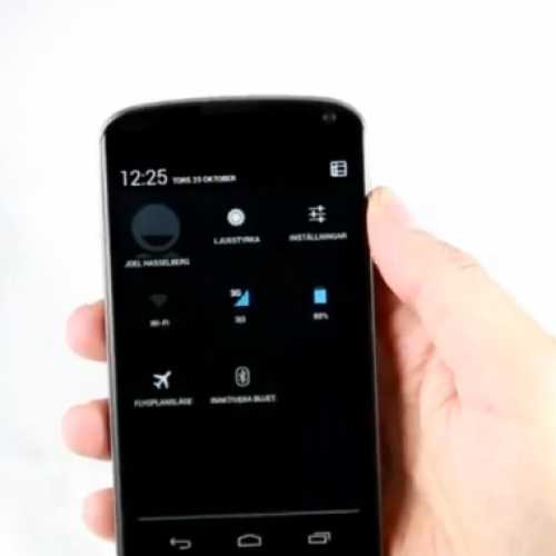 Short video of Nexus 4 shows quick settings, multi-user