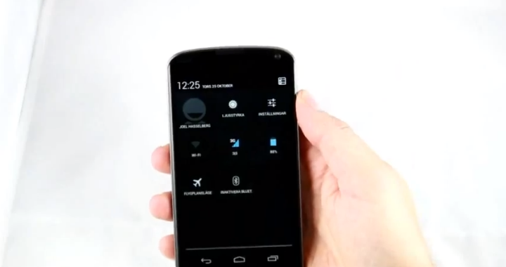 Nexus 4 Quick Settings Video