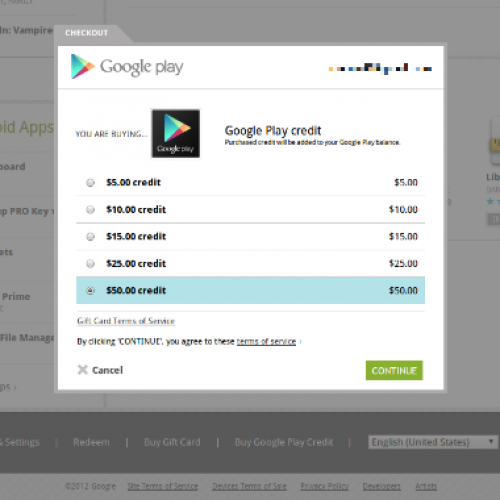Add credit to your Google Play account from the web