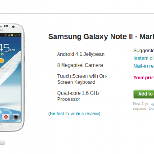 T-Mobile Galaxy Note II available at whopping $369