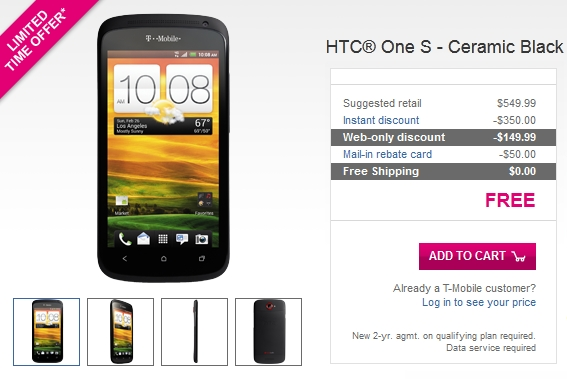 T Mobile HTC One S Black Available Free