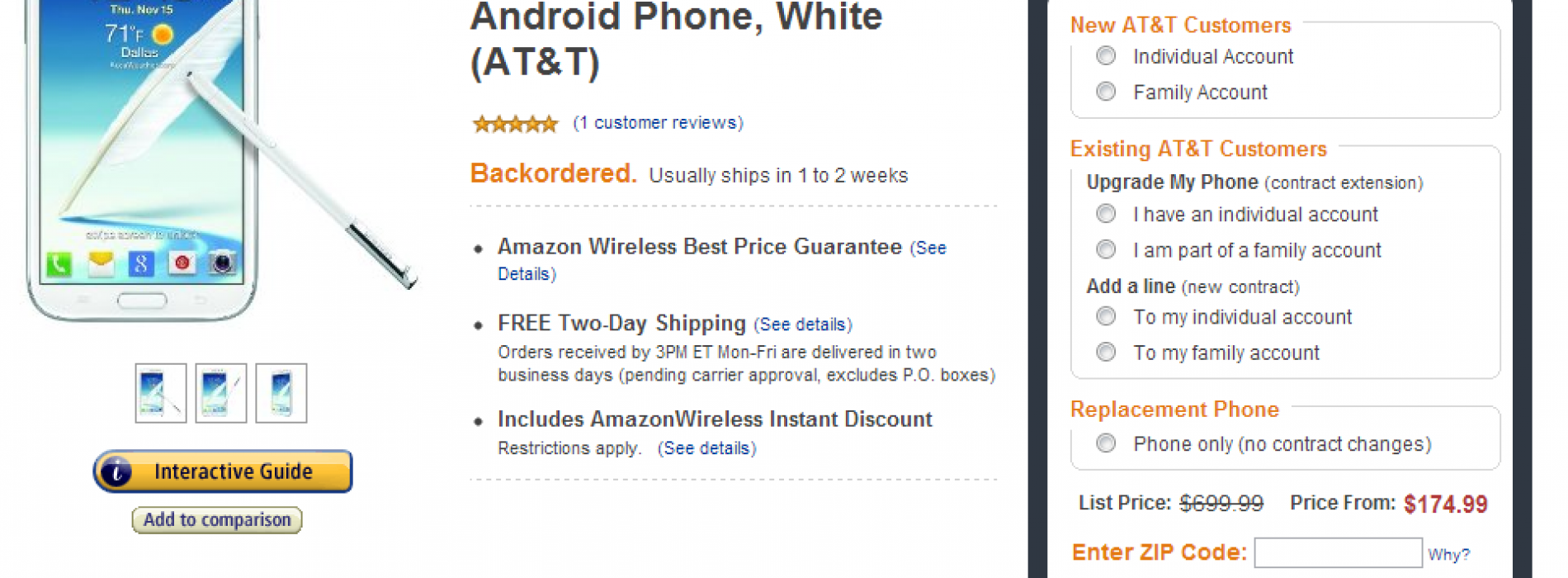Galaxy Note II on sale: $175 for new customers, $200 for upgrade through Amazon Wireless