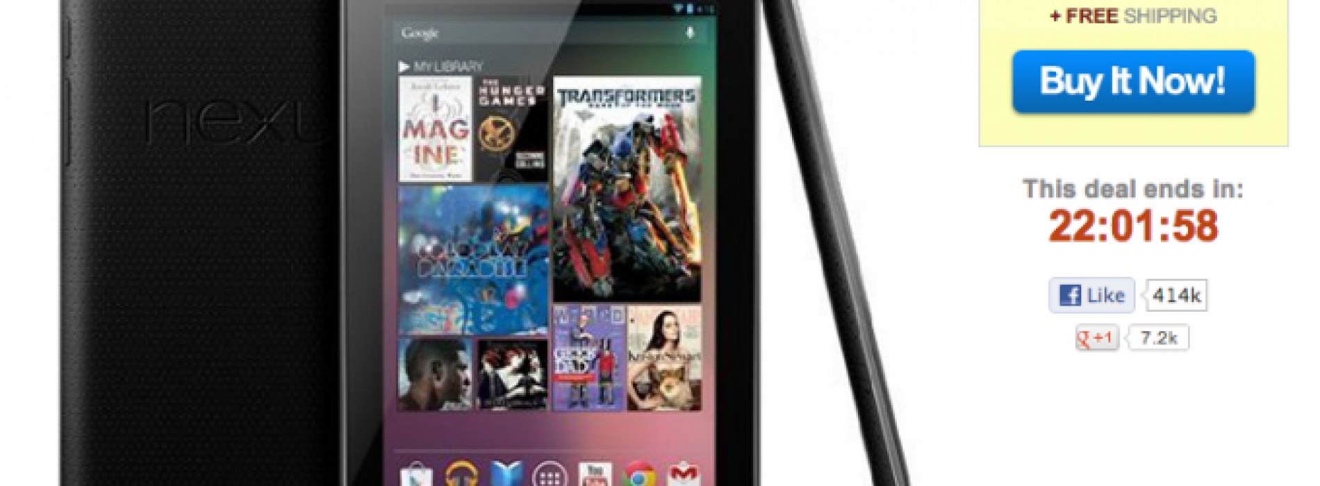32GB Nexus 7 on sale for $249.99 with free shipping, today only