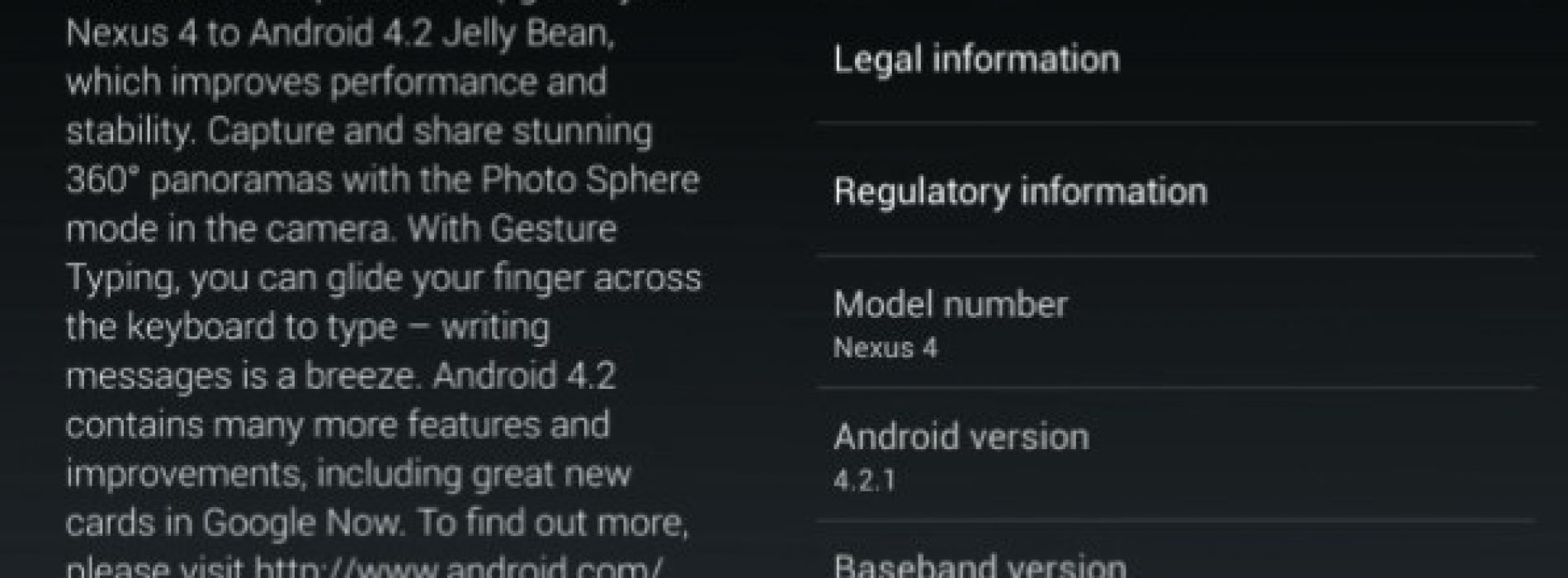 Android 4.2.1 OTA update rolling out for Nexus 4 and Nexus 10