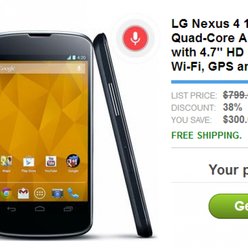 LG Nexus 4 16GB on sale today for $499 at dailysteals