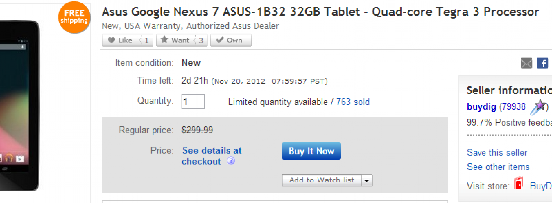 Today only: 32GB Nexus 7 at eBay Daily Deals for $229